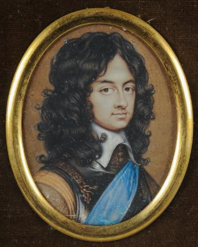 David Des Granges [1611-c1675] after Adriaan Hanneman - Miniature portrait of Charles II as Prince of Wales, head and shoulders, wearing a breastplate and blue sash of the Order of the Garter signed with initials and dated DDG 1655 lower right oval, 5.7cm, within a later plain ebonised frame.