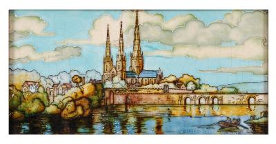 Charlotte Rhead, a tube-lined rectangular tile decorated with a view across the Minster Pool to 'Lichfield Cathedral in 1548', signed L Rhead, 14 x 25.5cm, in gilt frame.