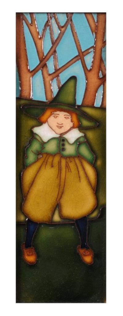 Charlotte Rhead, a pair of tube-lined tiles decorated with a Dutch boy and girl wearing traditional dress, one signed ' L. Rhead 1910', the other 'L. Rhead', 23 x 8cm in oak frames (2).