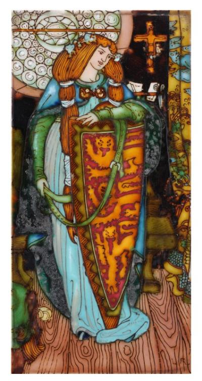 Charlotte Rhead, a tube-lined rectangular tile decorated with Elaine, the lily maid of Astolat guarding the shield of Lancelot, signed with initials 'L R.', 30 x 15cm, glaze imperfections. The composition is taken from an illustration by George Woolliscroft Rhead for an 1898 publication of Tennyson's Idylls of the King, a copy of which is included in the lot. The volume was illustrated in partnership with Louis Rhead raising the possibility that the tile was tubelined by him rather than Charlotte.