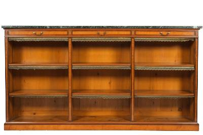 Sale FS21; Lot: 0932: A late 19th Century satinwood, mahogany banded and inlaid low open bookcase, bordered with boxwood and ebony lines, surmounted by a rectangular panel of green variegated marble, containing three frieze drawers and with adjustable shelves below, on a plinth base, 216cm (7ft 1in) long, 115cm (3ft 9 1/4in) high.