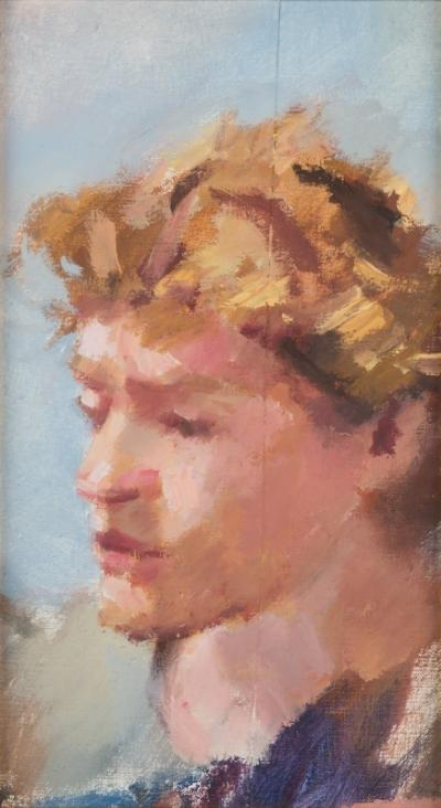 Robert O Lenkiewicz [1941-2002] - Fragment from 'The Fight' Project 17. Observations on Local Education - signed and inscribed on the reverse, further inscribed [S W Fascism Column 88] oil on canvas 34.5 x 19cm.