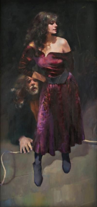 Robert O Lenkiewicz [1941-2002] - The Painter with Karen - signed twice on the reverse and inscribed Painter with Women Observation son the Theme of the Double Project 18 Aristotle & Phyllis, oil on canvas 191 x 90cm.