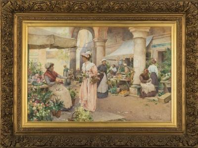 Alfred Glendening Jnr. [1861-1907] - An exchange at the flower market - signed with a monogram and dated 1897 bottom right watercolour 49.5 x 75cm.