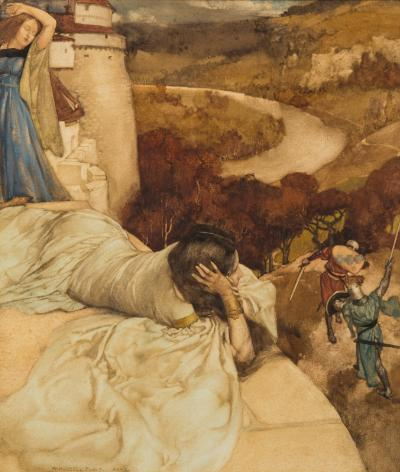 William Russell Flint [1880-1969] - An illustration for Mallory's Morte d'Arthur - signed and dated W Russell Flint MCMX bottom right watercolour 26 x 22cm To be sold with two accompanying letters from WRF to Miss Chorley dated 1968 and 1969 from his Camden Hill address. Extract: 'I remember painting your Morte d'Arthur original very clearly; I think the nearer young woman was thoroughly enjoying the fight going on below….'.