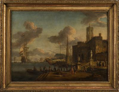 Sale FS23; Lot: 0291: Jacobus Storck [1641-c1693, Dutch] - An Eastern Mediterranean harbour capriccio with Dutch man-o-war offshore, merchants, elegant figures and seamen on the quayside - signed J Storck and indistinctly dated 1678? bottom right oil on canvas 60 x 83cm.