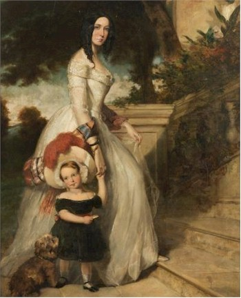 Sale FS24; Lot: 0210: Thomas Musgrave Joy [1812-1866] - Full-length portrait of Arthur Scotland Yates, his mother and pet dog on a veranda - signed and dated TM Joy 1844 bottom left oil on canvas 235 x 143cm.