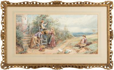 Sale FS24; Lot: 0292: Myles Birket Foster [1825-1899] - 'The Elderberry Gatherers'- signed with monogram lower left, titled on gallery label on reverse pencil and watercolour with bodycolour on paper 33.5 x 69.5.