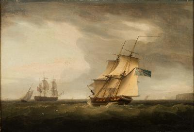 Sale FS24; Lot: 0295: Thomas Whitcombe [1752-1824] - Royal Naval frigates and other craft off the Kent coast - a pair, one signed and dated T Whitcombe 1792 the other signed oils on canvas each 40 x 595cm.