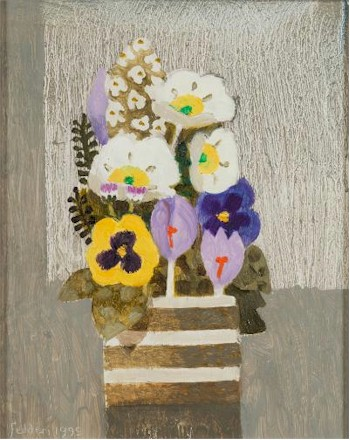 Sale FS25; Lot: 0403: Mary Fedden [1915-2012] - Spring flowers, crocus and pansies in a pot - signed and dated Fedden 1995 bottom left oil on board 24.5 x 19.5cm.