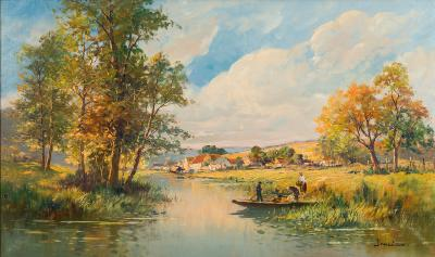 Eugene Demester [b 1914] - 'Sologne woods near Orleans', a quiet backwater - signed bottom left oil on canvas 60 x 100cm.