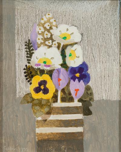 Mary Fedden [1915-2012] - Spring flowers, crocus and pansies in a pot - signed and dated Fedden 1995 bottom left oil on board 24.5 x 19.5cm.
