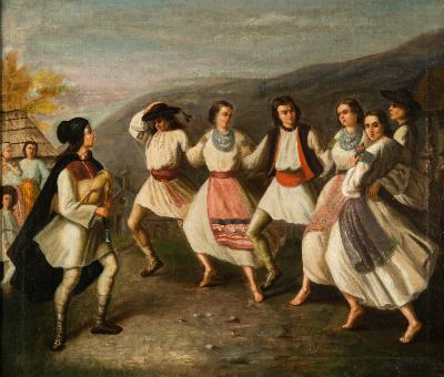Sava Hentia [1848-1904 Romanian] - 'Hora'; a group of six traditional Romanian dancers in an upland village scene with accompanying musician - signed S Hentia bottom right oil on canvas 52 x 61cm Painted circa 1868.