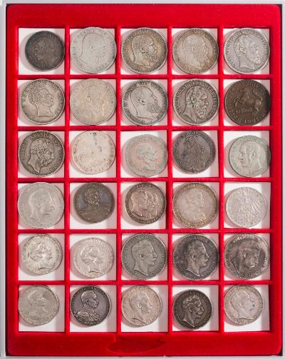 A large extensive single collection of German and German Independence state coinage including silver talers dating 1623, 1631, 1628, Frankfurt 1861, together with mostly 19th century German coins up to post World War II.