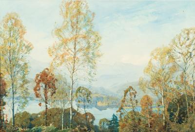 Alfred Heaton Cooper [1864-1929] - Autumn Morning, Windermere - signed watercolour 35 x 52cm.