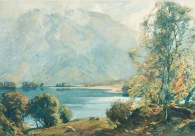 Alfred Heaton Cooper [1864-1929] - Autumn Morning Sun, Ullswater - signed watercolour.