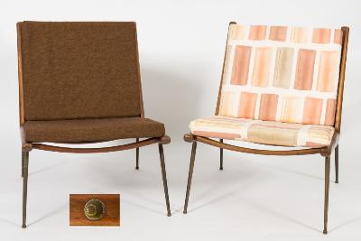 By Peter Huidt and Orla Molgaard-Nielsen - A set of three teak 'Boomerang' chairs with cushion seats and backs.
