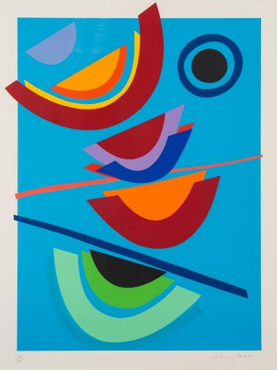 Sir Terry Frost [1915-2003] - Blue Circle - silkscreen print signed and numbered 76/125in pencil along the bottom margin image 71 x 52cm.