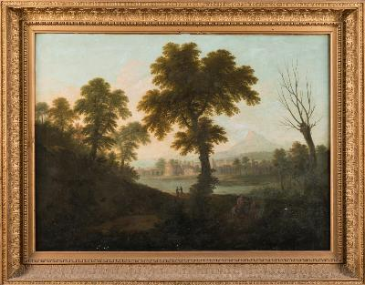 Attributed to Gabriele Ricciardelli [Fl 1745-1777] - An Italianate landscape, figures in the foreground, with a view to a fortified town and mountains beyond - oil on canvas 91 x 121cm.