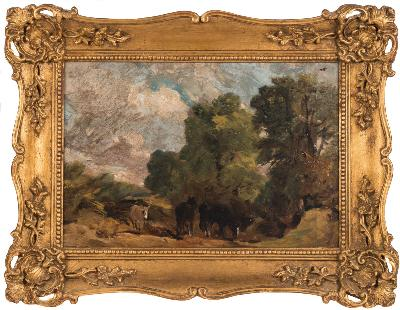Sale FS28; Lot: 0409: John Constable RA [Suffolk 1776-1837 London] - Landscape with horses - oil sketch on canvas 24 x 36cm.