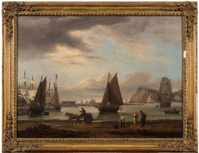 Thomas Luny [1759-1837] - Teignmouth Harbour - signed and dated T LUNY 1828 oil on canvas 49.5 x 67cm.