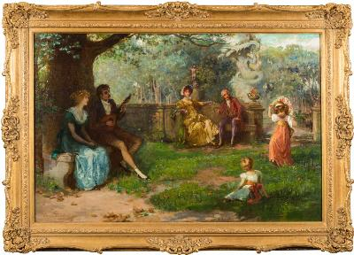 Charles A Buchel [1872-1950] - The Little Dancer; a family in a formal garden setting with a young beau playing a mandolin and children dancing - signed and dated '96 bottom left oil on canvas 59 x 90cm.
