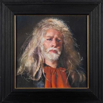 Robert O Lenkiewicz [1941-2002] - Self-Portrait with Red Scarf - signed twice and inscribed on the reverse oil on canvas 48 x 48cm.