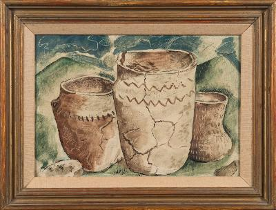 Sale FS29; Lot: 0354: John Craxton RA [1922-2009] - Roman pots, archaeological find, the Downs, Cranborne Chase beyond - initialled JC and dated 1940 bottom right, small label on reverse JOHN CRAXTON 1940 inscribed on backboard in pen 'John Craxton, pots from Crichell Down sits in the possession of Stuart Piggott 1940-41' oil on board 24.5 x 34.5cm.