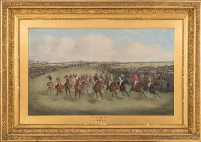 Sale FS29; Lot: 0363: Henry Alken Junior [Samuel Henry Alken] [1810-1894] - The Derby, 1875- signed bottom left oil on panel 45 x 75cm.