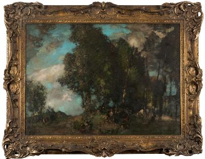 Edward Arthur Walton, RSA, [1860-1922] - The Gypsy Camp, a group of figures amongst woodland - signed EA Walton bottom right oil on canvas 82 x 114cm.