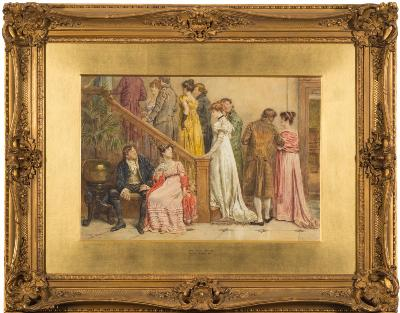 George Goodwin Kilburne [1839-1924] - 'The Next Dance'- signed bottom left watercolour 36 x 53cm.