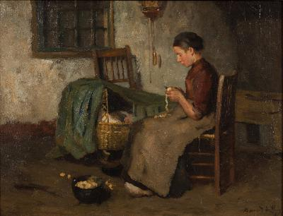 Johann Bernard de Hoog [1867-1943] - 'Peeling Vegetables'; a cottage interior scene with a mother and a child in a cot - signed bottom right oil on canvas 30.5 x 41cm.