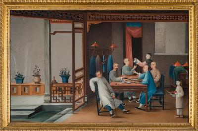 Sale FS29; Lot: 0725: An unusual late 18th century Chinese Export reverse mirror painting depicting opium smokers seated around a table in an interior with an open veranda to one side, contained in a later gilt frame, 43 x 69cm [chip under frame].