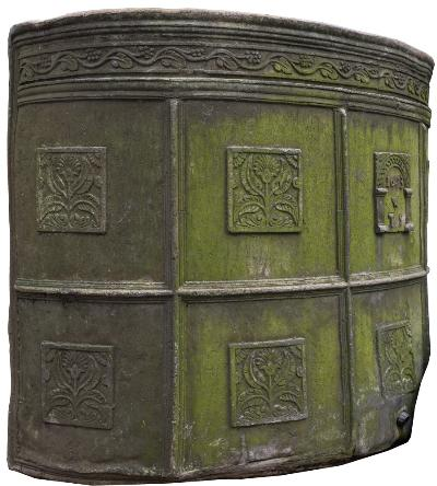 A 17th Century lead water cistern, of D shaped outline with a curved back, the frieze decorated with a continuous band of leaves and berries, having square panels cast with stylised flowering stems within moulded square surrounds, the central arcaded panel with date 1653 and initials W over T S, 132cm (4ft 4in) long, 102cm (3ft 4in) high.