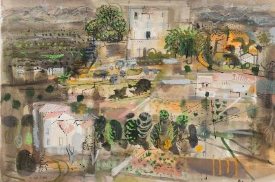 Sale FS30; Lot: 0280: John Piper [1903-1992] - Menerbes - signed bottom left, inscribed with title bottom right pen, ink and watercolour heightened with bodycolour 36 x 53cm.