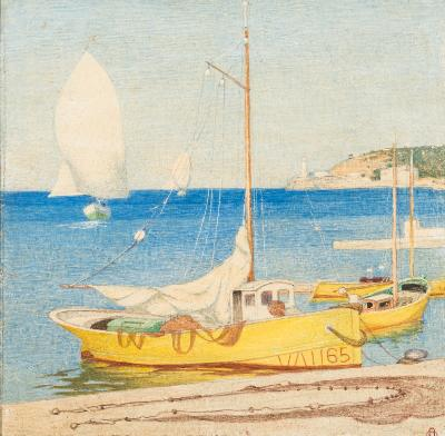 Maxwell Ashby Armfield [1881-1972] - Peurto de Soller, Mallorca - signed with a monogram bottom right further signed, inscribed and dated Nov.1953 on the reverse tempera 17 x 17.25cm, unframed.