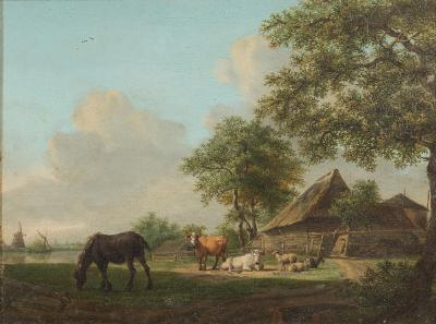 Peter Gerardus Van Os [Dutch, 1776-1839] - A farmstead scene; horse, cattle, sheep and a goat in the foreground, view to a farm, a barge and windmills beyond - signed PG Van Os fe bottom left, oil on panel, 28 x 36.5cm.