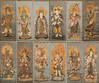 A rare set of twelve Japanese hand-coloured woodblock prints of 'The Twelve Divas' mounted as hanging scrolls and depicting Gatten [the moon god], Nitten [the son of god], Rasetsuten [god of demons], Bishamonten [god of wealth], Bonten [god of sacred Indian lore], Emma [god of death], Taishakuten [god of rain and justice], Ishanaten [god of wealth and protection], Futen [god of wind], Katen [god of fire], Suiten [god of waters] and Chiten [god of the earth], 16th/17th century, 109 x 43 cm.