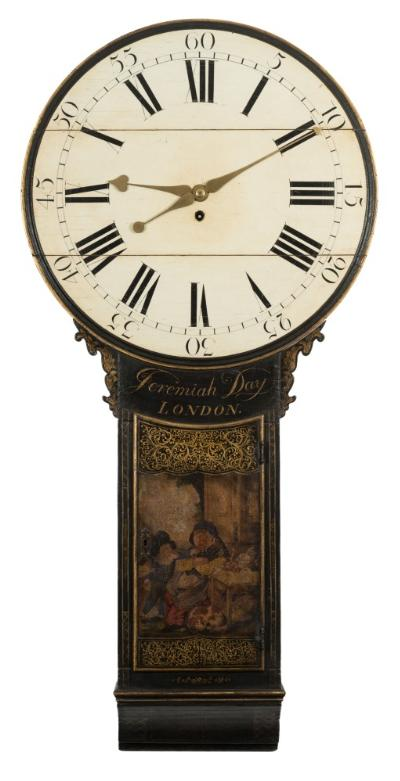 Jeremiah Day, London a lacquered tavern clock the eight-day duration 'A' frame, weight-driven movement with five-leaf pinions through-out allowing for anti-clockwise winding, the twenty-three inch cream painted dial with black Roman numerals, brass 'heart' hands and a moulded surround, the lacquered case with gilded decoration and painted with a scene to the trunk door depicting an elderly lady asleep with a dog at their feet, as a young boy tickles her nose, with decorative ears to the case sides and a scroll base, signed to the top of the trunk Jeremiah Day, London, height 135cm.