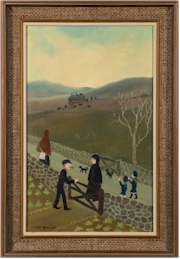 Sale FS31; Lot: 0361: Helen Bradley [1900-1979] - 'Going home from Gt. Aunt Janes'- signed bottom left oil on board 39.5 x 24.5cm.
