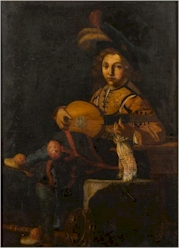 Sale FS31; Lot: 0417: Manner of Michelangelo Caravaggio late 18th/19th Century - The Lute Player-, a young courtesan seated playing a string instrument, other musical instruments at his feet oil on canvas 123 x 88cm.