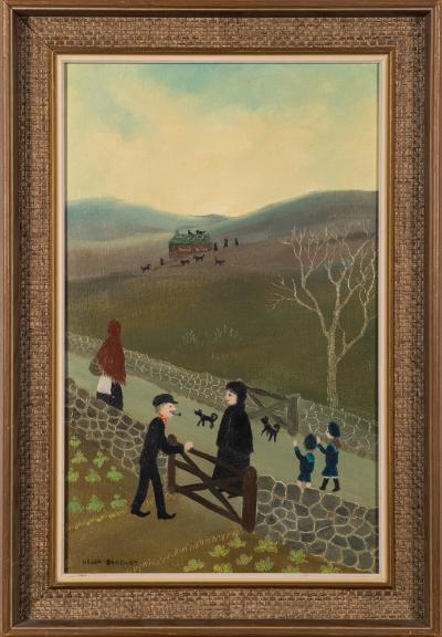 Helen Bradley [1900-1979] - 'Going home from Gt. Aunt Janes'- signed bottom left oil on board 39.5 x 24.5cm.