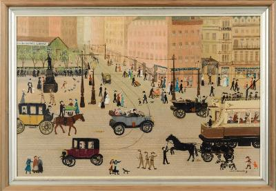 Helen Bradley [1900-1979] - Piccadilly, Manchester 1915- signed Helen Bradley and with fly insignia bottom right also inscribed with title and date on a label on the reverse oil on board 49.5 x 75.5cm.