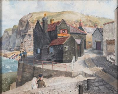 Sale FS31; Lot: 0369: Richard Eurich O BE, RA [1903-1992] - The Cod and Lobster, Staithes - signed R Eurich and dated 1934 bottom right also inscribed in pencil on the stretcher oil on canvas 40.5 x 50.5cm *Exhibited. Royal Albert Memorial Museum 1960.
