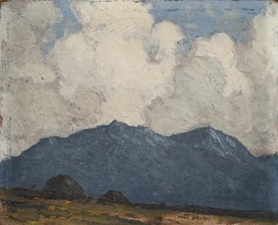 Paul Henry [1877-1958, Irish] - Turf stacks with mountains beyond - signed Paul Henry bottom right oil on board 12.5 x 15.5cm, unframed.