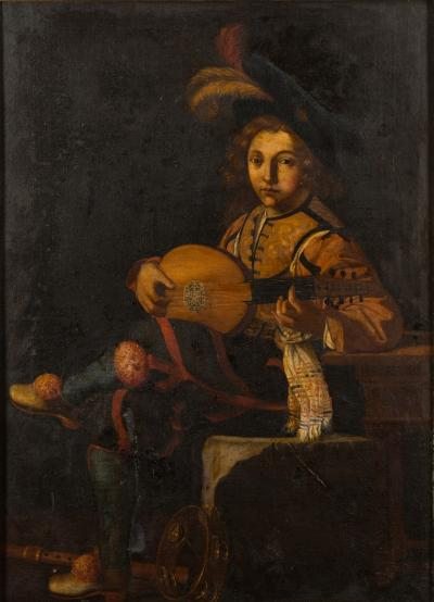 Manner of Michelangelo Caravaggio late 18th/19th Century - The Lute Player-, a young courtesan seated playing a string instrument, other musical instruments at his feet oil on canvas 123 x 88cm.