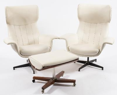 A pair of 'Everest' white leather swivel armchairs, on blackened and polished steel cruciform bases, also a similar stool on rosewood veneered cradle, stainless steel column and rosewood veneered base with castors.