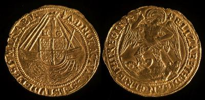 Sale FS32; Lot: 0739: Elizabeth I (1558-1603) a hammered gold Angel fourth issue (1578-82), mint mark sword, 5.0g. S.2525.
