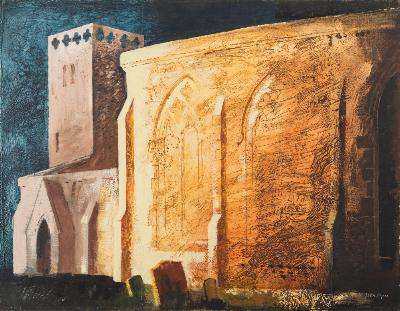 John Piper [1903-1992] - North Moreton Church, Berkshire - signed bottom right, further signed, inscribed and dated 1941 on the backboard, oil on canvas laid on panel, 49 x 65cm.