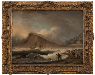 Thomas Luny [1759-1837] - Shipwreck at the Ness - signed and dated bottom left oil on panel 29.5 x 39cm.
